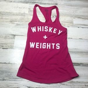 Workout tank top size XS funny whiskey weights